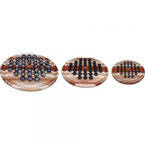 Large, Medium, and Small Wood Marble Solitaire