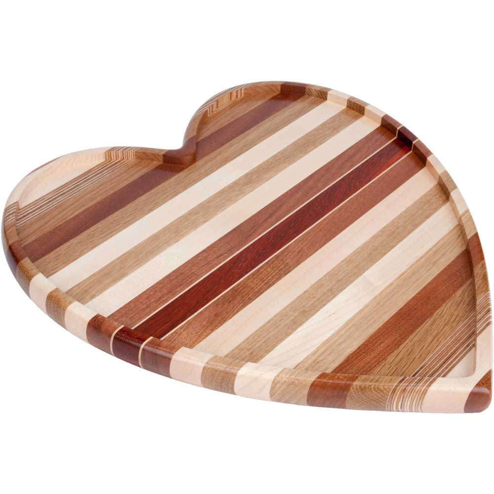 Heart Shaped Laminated Wood Cutting Board and Serving Tray