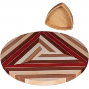 Laminated Wood Puzzle Trivets Circle with Bowl
