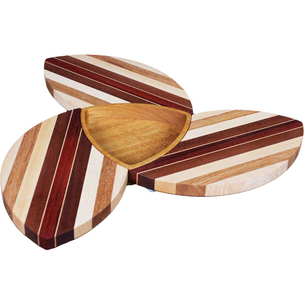 Laminated Wood Puzzle Trivets Flower with Bowl