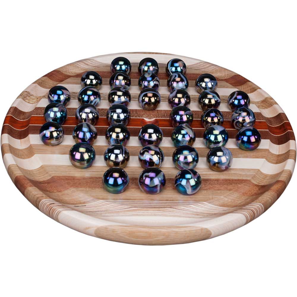 Large Wood Marble Solitaire