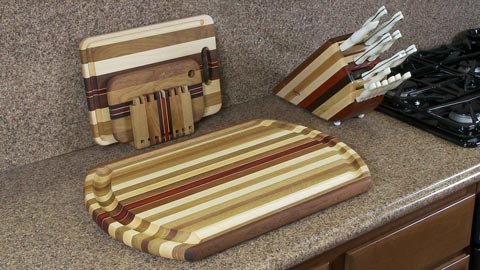 Large Wood Meat Cutting Board with Wood Knife Block
