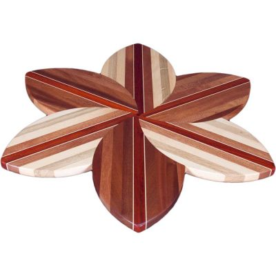 Sapele Laminated Wood Flower Lazy Susan