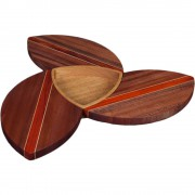 Sapele Wood Puzzle Trivets Flower with Bowl