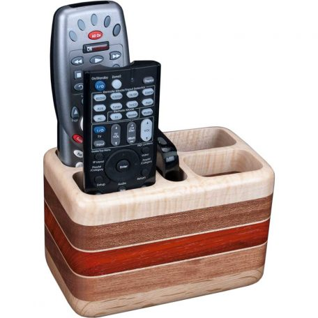 Laminated Maple Sapele Remote Holder with Remotes