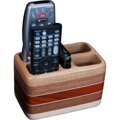 Laminated Oak Sapele Remote Holder with Remotes