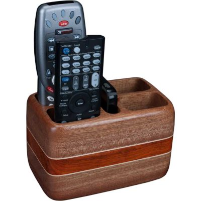 Laminated Wood Sapele Remote Holder with Remotes