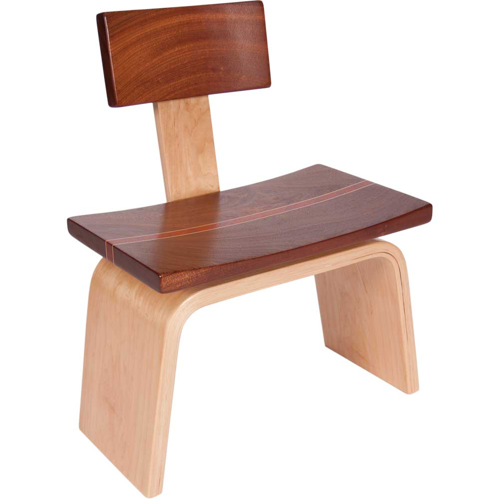 Wood Game Coffee Table Stool with Back