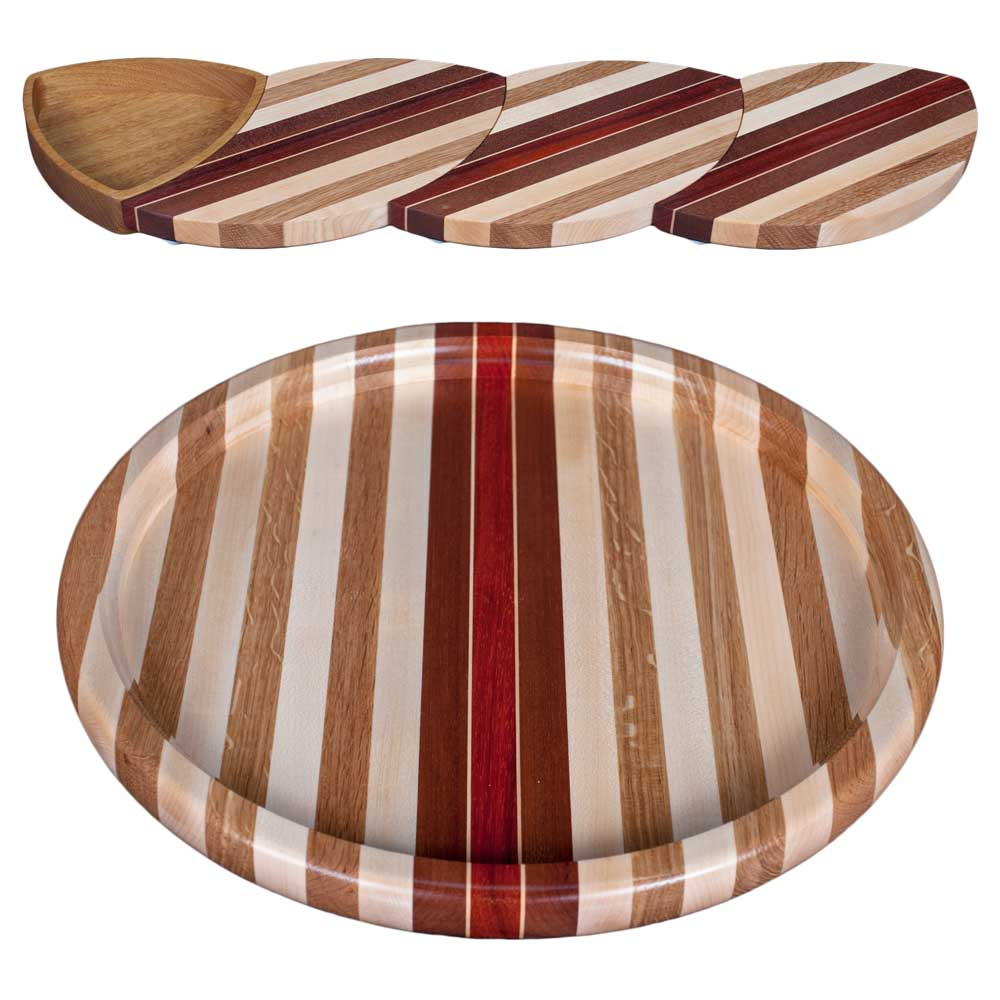 Laminated Wood Puzzle Trivets Straight with Bowl and Susan