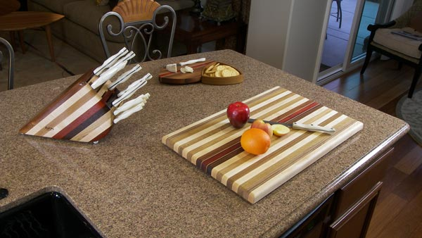 Large Striped Cutting Board Knife Block Trivets