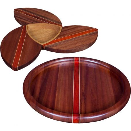 Sapele Wood Puzzle Trivets Flower with Bowl and Susan