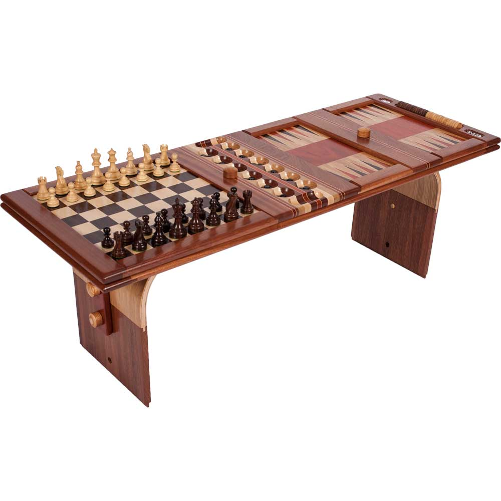 Wood game and coffee table ode to wood for 10 games in 1 table